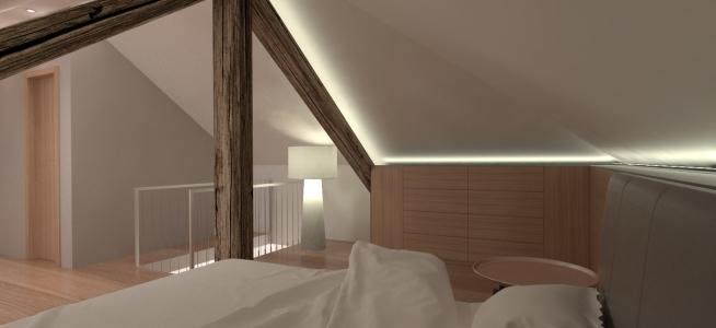 <h5>Interiér podkrovnej spálne</h5>