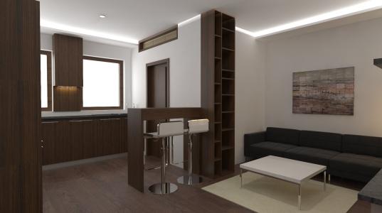 <h5>Interiér kuchyne s obývačkou</h5>