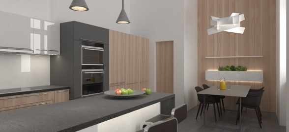 <h5>Interiér kuchyne – Košice centrum</h5>