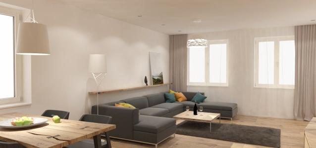 <h5>jednálenská časť a obývačka</h5>
