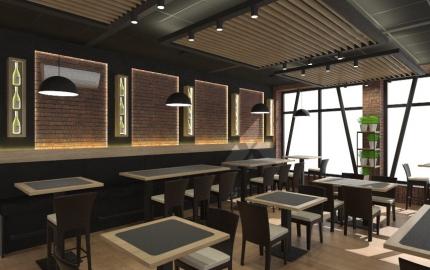 <h5>Interiér reštaurácie – Sabinov</h5>