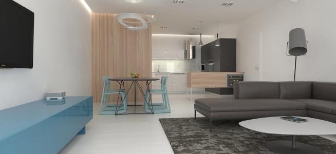 <h5>Interiér obývačky a kuchyne</h5>