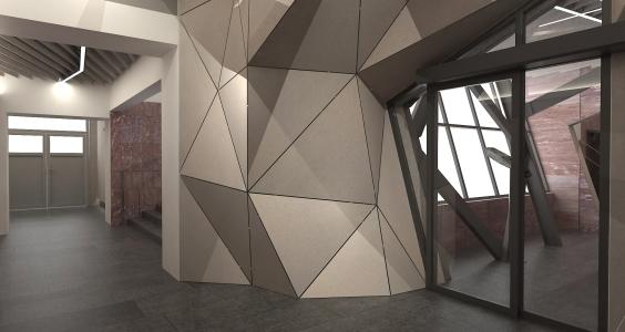 <h5>Vizualizácia – polygonálna štruktúra obkladu chodby</h5>