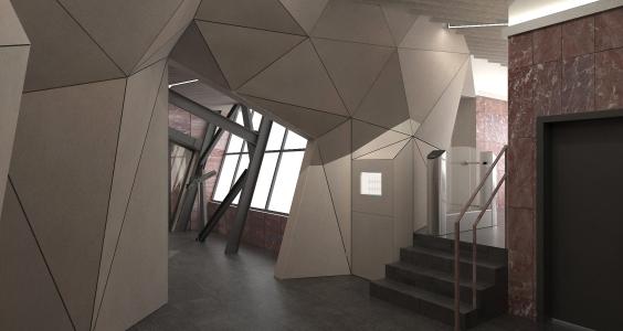 <h5>Vizualizácia – čakáreň s polygonálnou štruktúrou obkladu</h5>