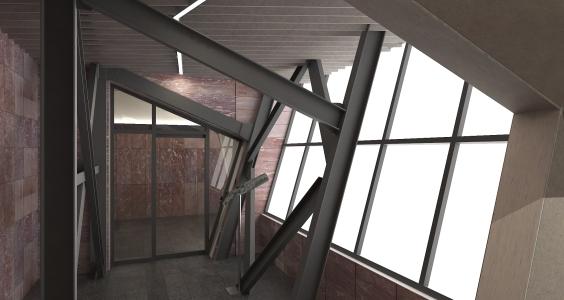 <h5>Vizualizácia – miestnosť s vyhliadkou na kabínku</h5>