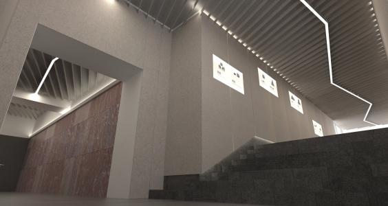 <h5>Vizualizácia – lomené osvetlenie vinúce sa chodbami</h5>