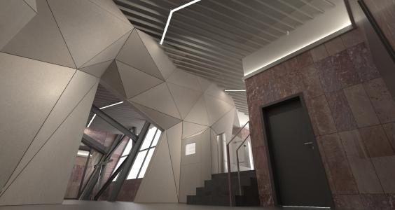<h5>Vizualizácia – lomené osvetlenie v čakárni</h5>