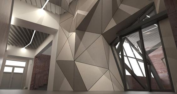 <h5>Vizualizácia – polygonálna štruktúra obkladu a lomené osvetlenie</h5>