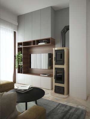 <h5>obývačka s krbom</h5>