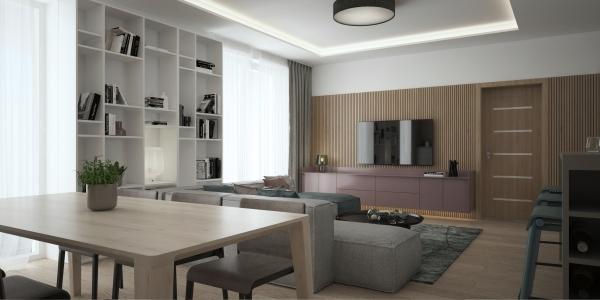 <h5>obývačka s jedálňou</h5>