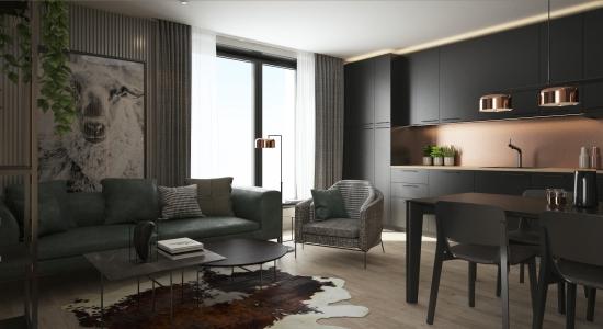 <h5>obývačka a kuchyňa</h5>